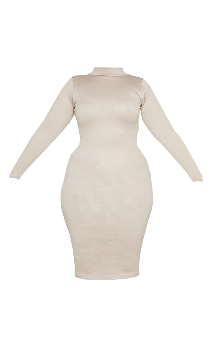 Plus Stone Structured Contour Rib High Neck Midi Dress  5