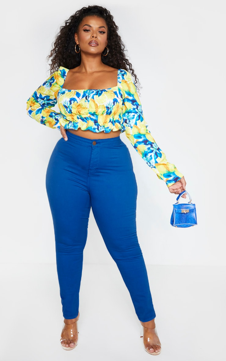 Plus Bright Blue High Waisted Super Stretch Skinny Jean 1