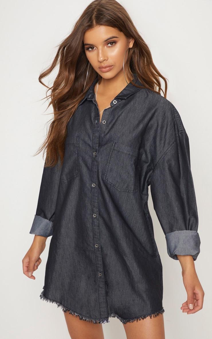 b11f3e714a85 Washed Black Frayed Hem Oversized Shirt Dress image 1