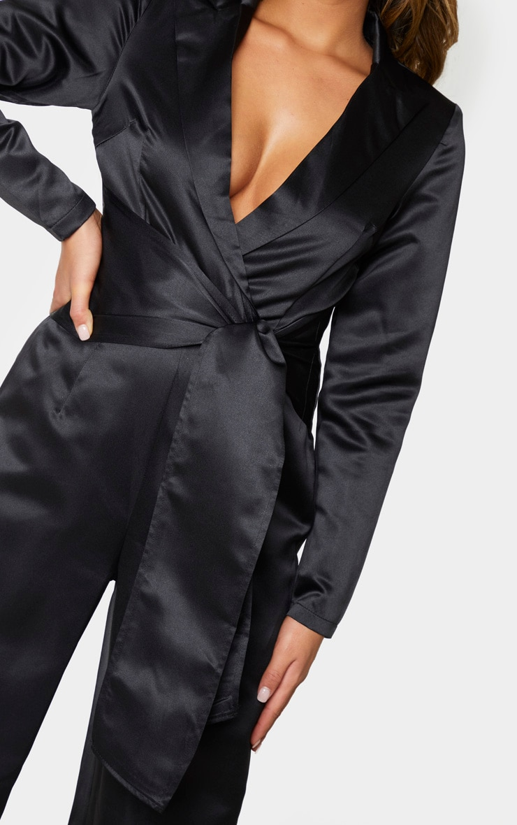 Black Wrap Detail Blazer Jumpsuit 4