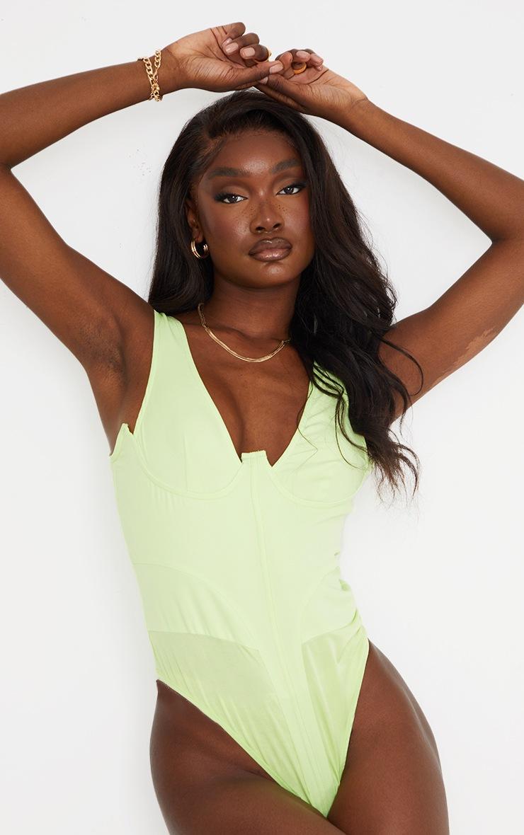 Tall - Body style corset vert citron en maille tissée 2