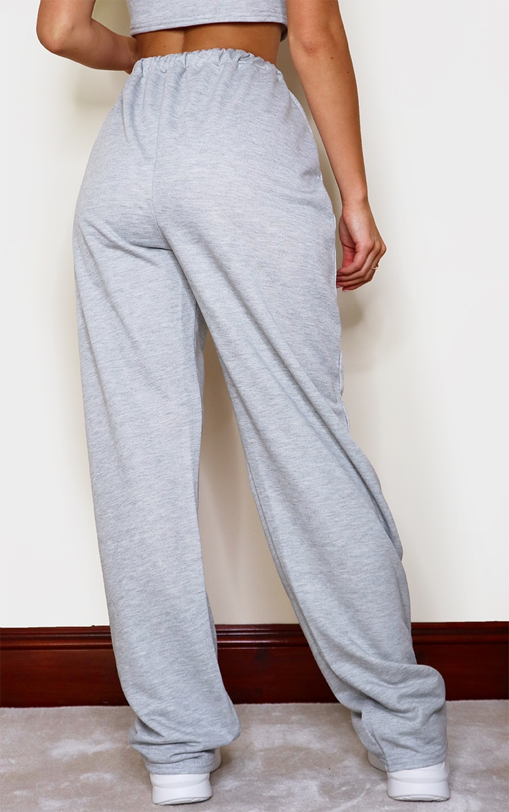 Grey Marl High Waist Seam Detail Wide Leg Joggers 3