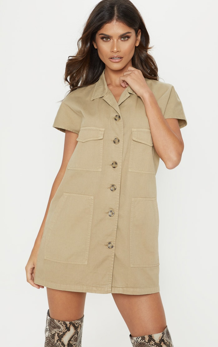 Stone Denim Cargo Short Sleeve Shirt Dress 1