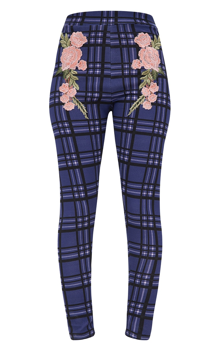 Navy Check Applique Skinny Trousers 3