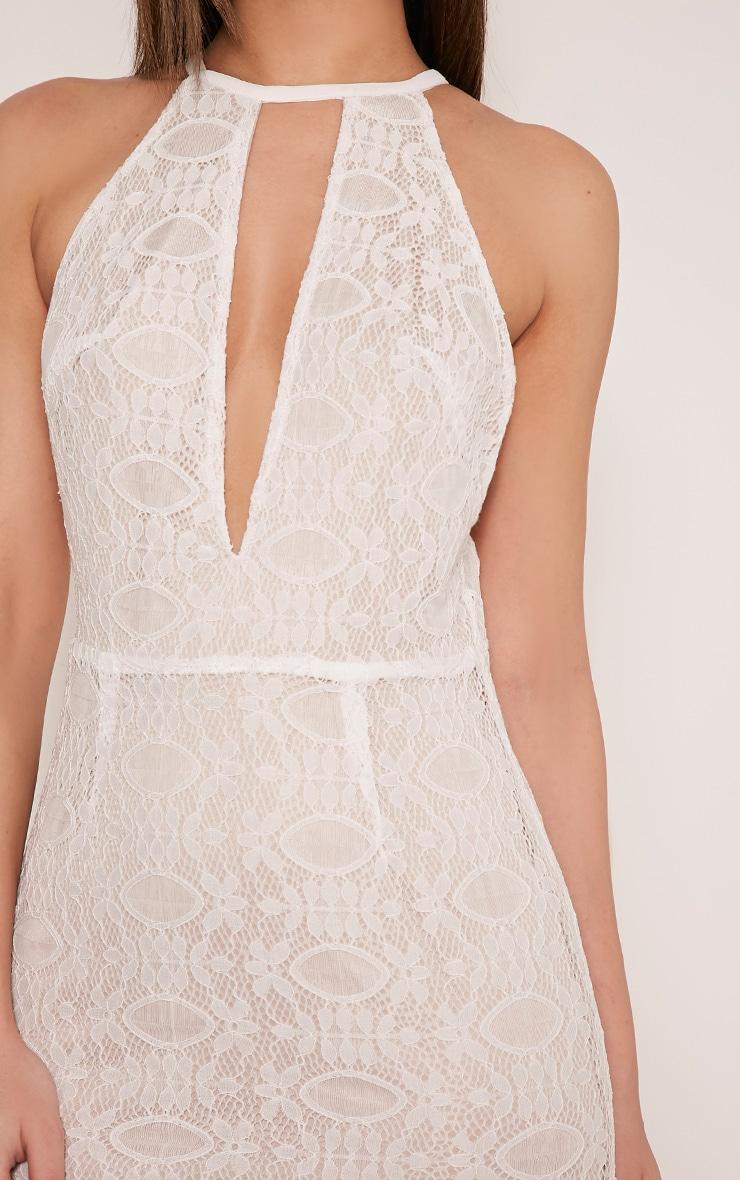 Leana White Keyhole Strappy Back Lace Dress 6