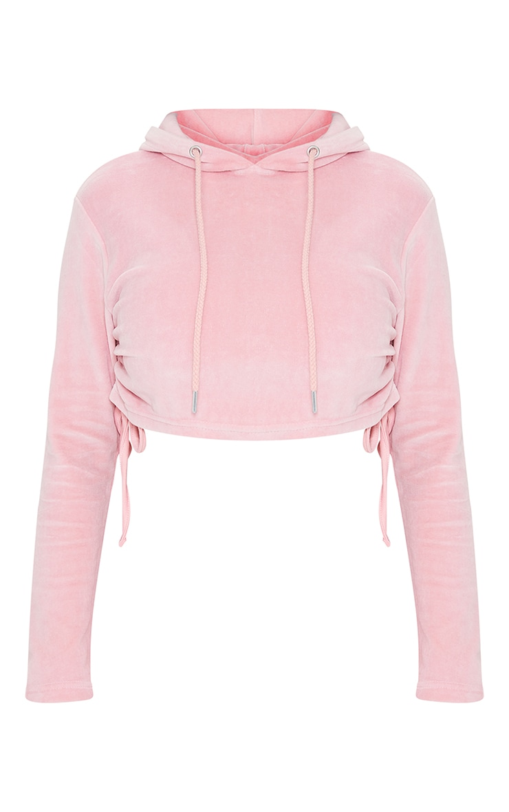 Shape Baby Pink Velour Ruched Side Cropped Hoodie 5