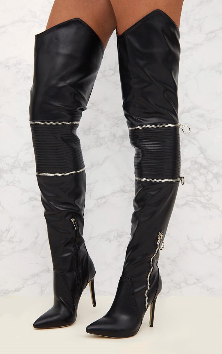 Black Thigh High Heeled Biker Boots  5