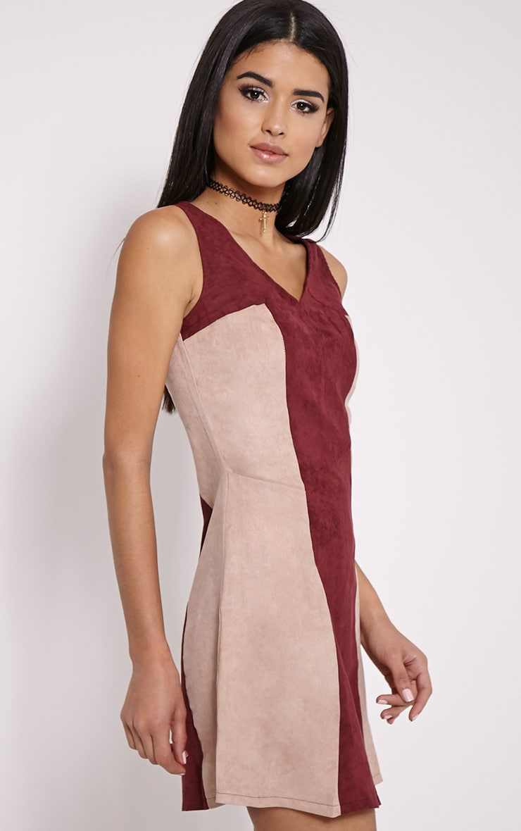 Austen Wine Colour Block Faux Suede Zip Back Dress 4