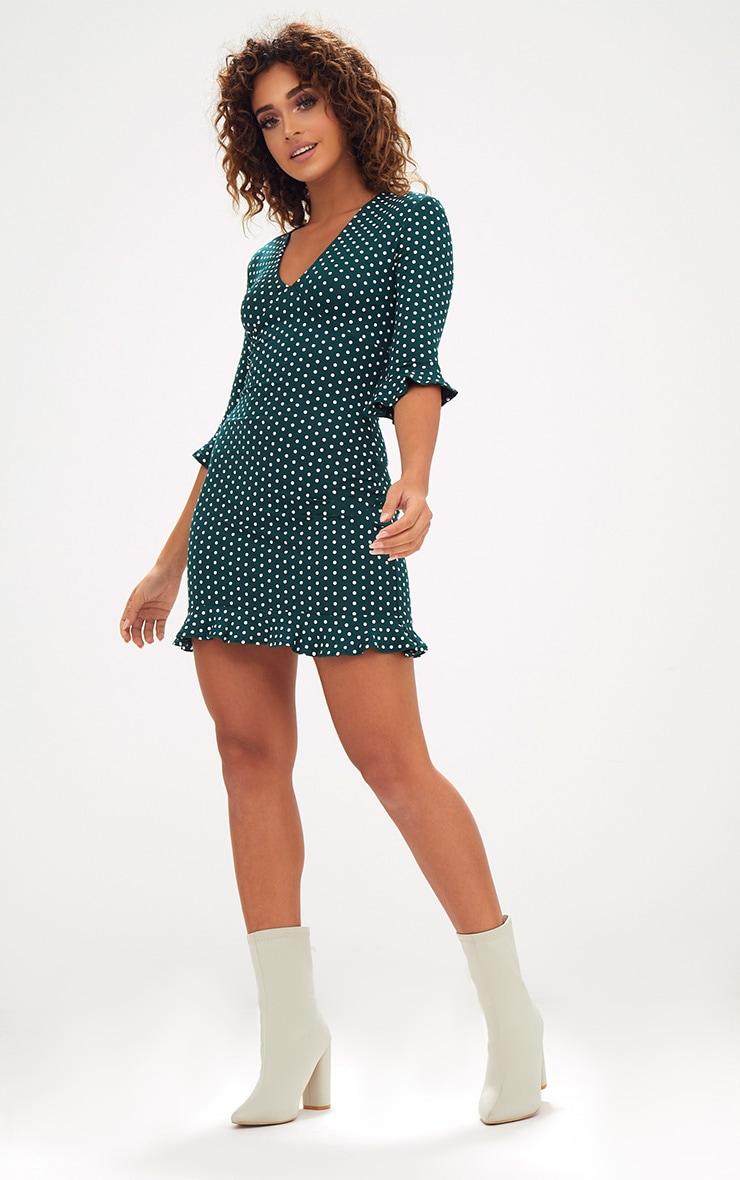 Forest Green Polka Dot Frill Hem Shift Dress 1