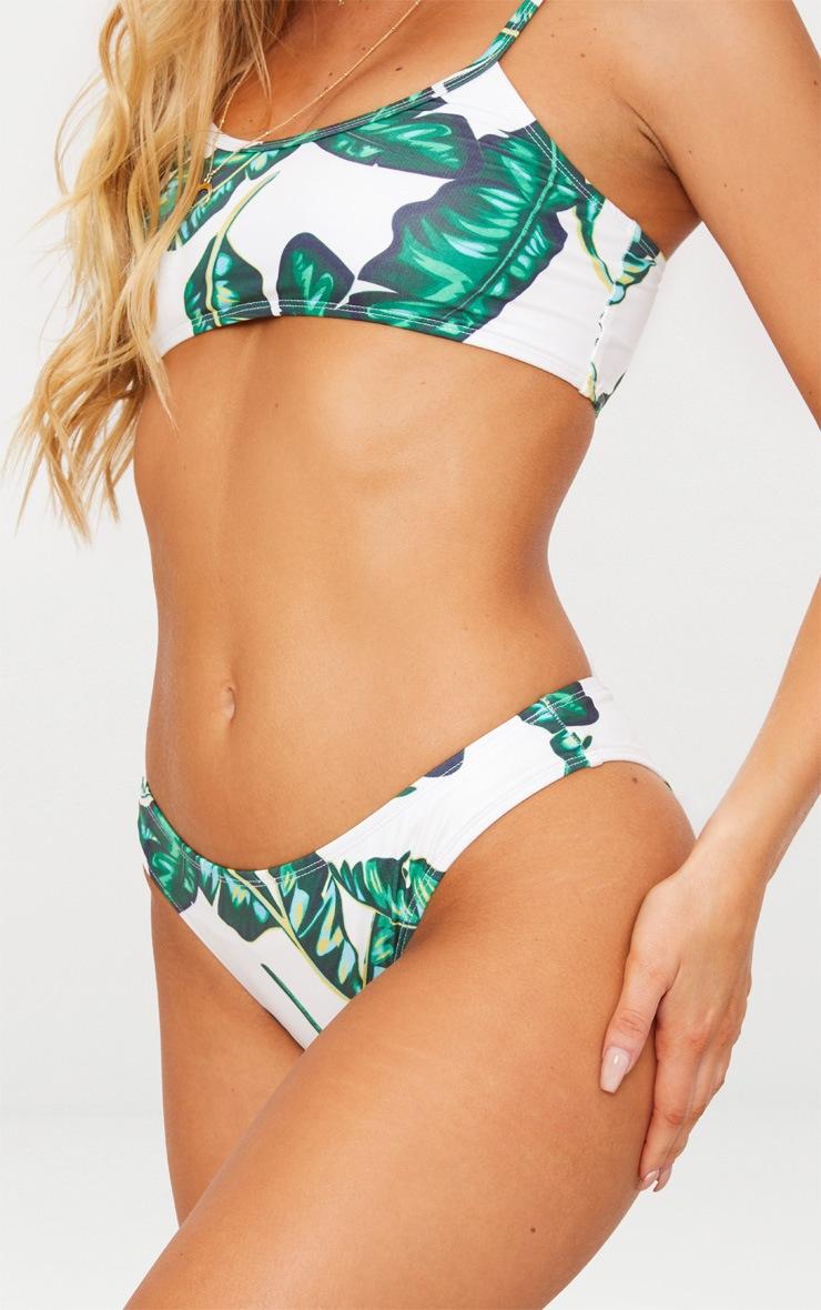 Green Palm Print High Leg Bikini Bottom 6