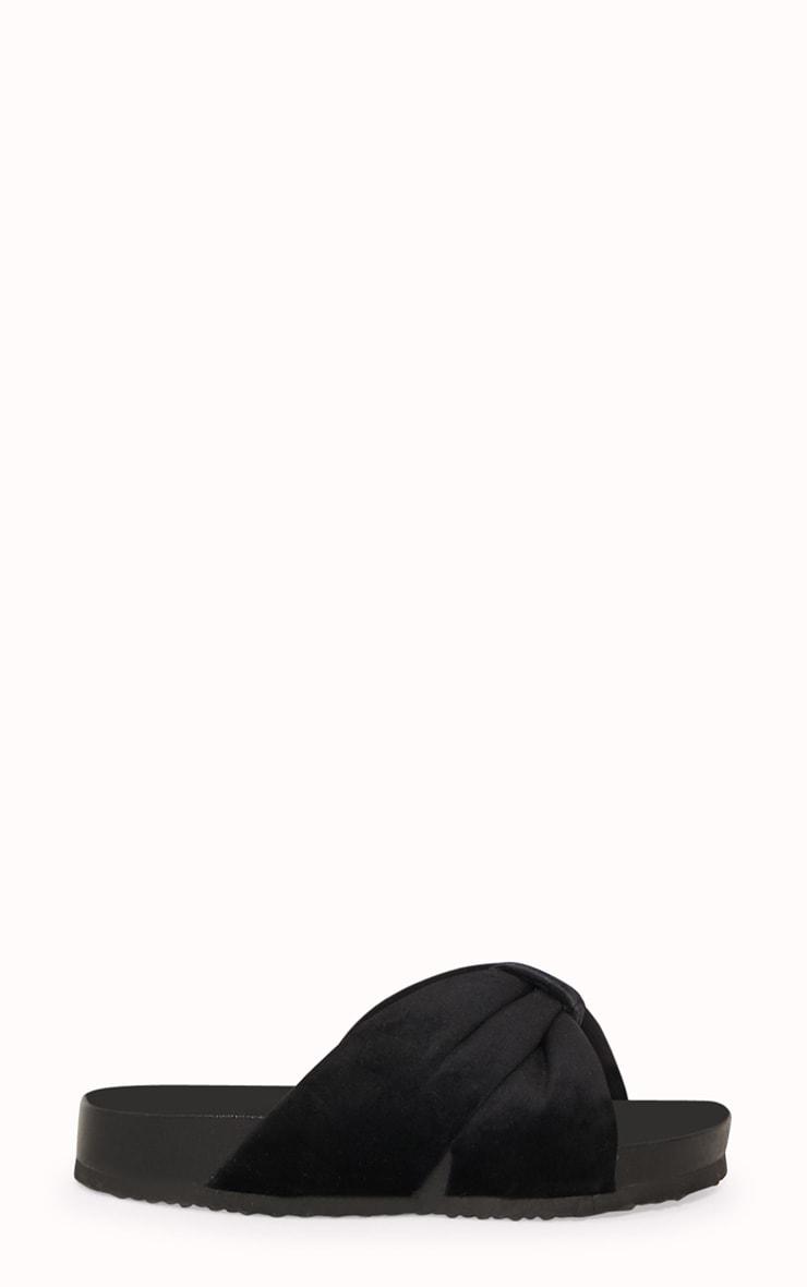 Black Velvet Knot Bow Slides 3