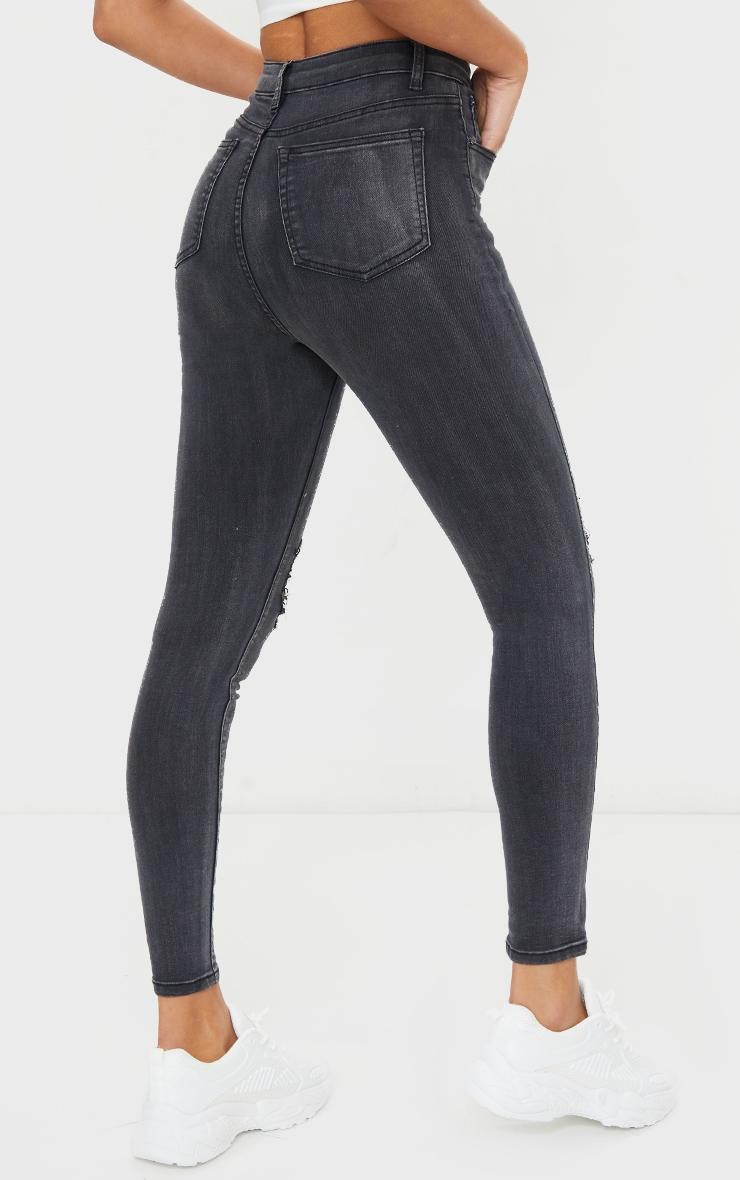 PRETTYLITTLETHING Washed Black Knee Rip 5 Pocket Skinny Jean 3