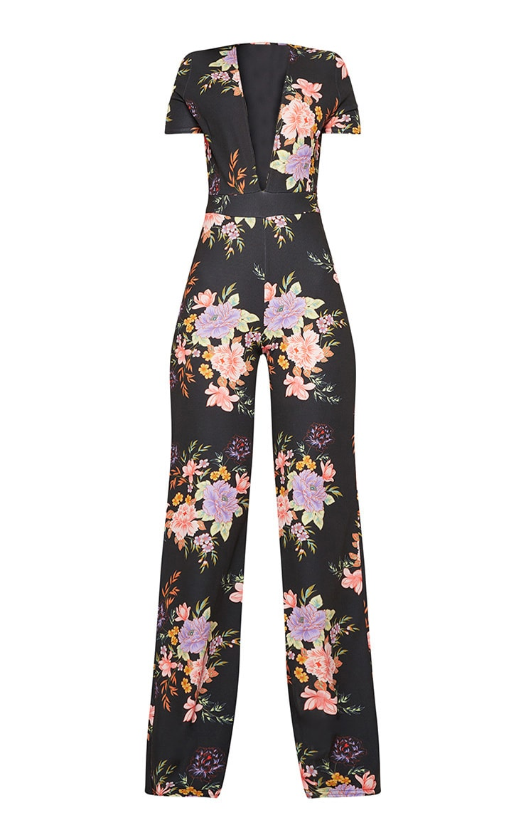 Black Floral Crepe Short Sleeve Plunge Jumpsuit 3