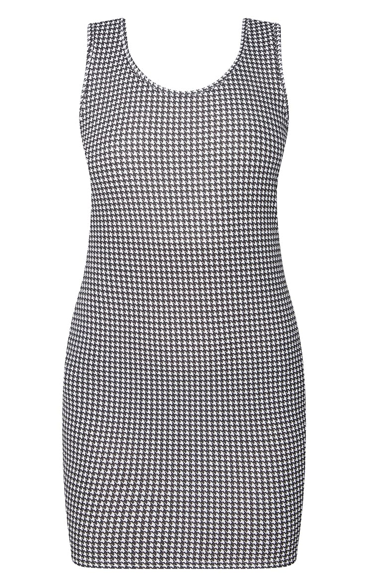 Black Dogtooth Print Frill High Neck Pinafore 2 in 1 Bodycon Dress 5