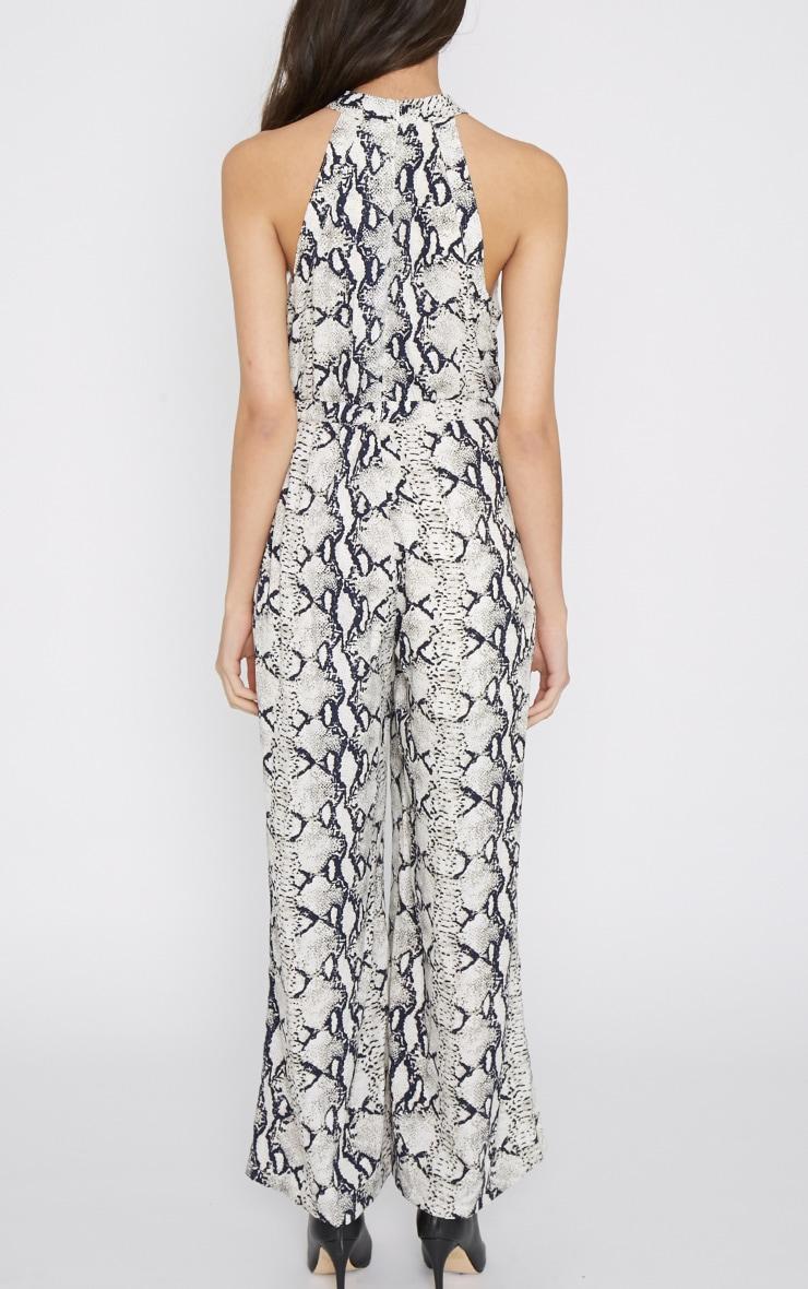 Rania Grey Snake Print Jumpsuit  2