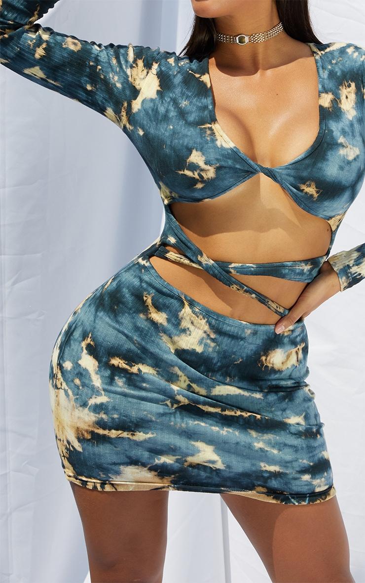 Shape Charcoal Tie Dye Thick Rib Twist Front Cut Out Bodycon Dress 4
