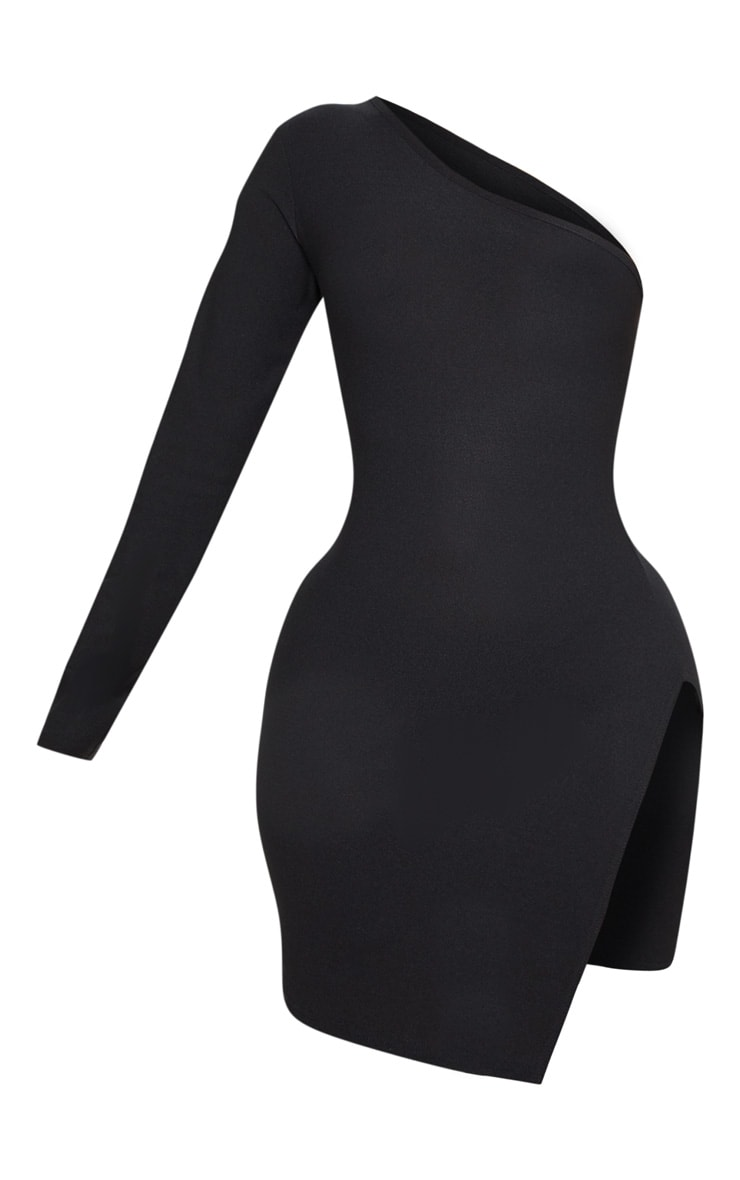 Shape Black One Shoulder Split Bodycon Dress 3