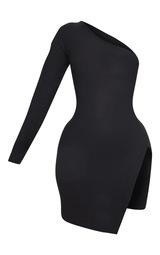 Shape Black One Shoulder Split Bodycon Dress 1