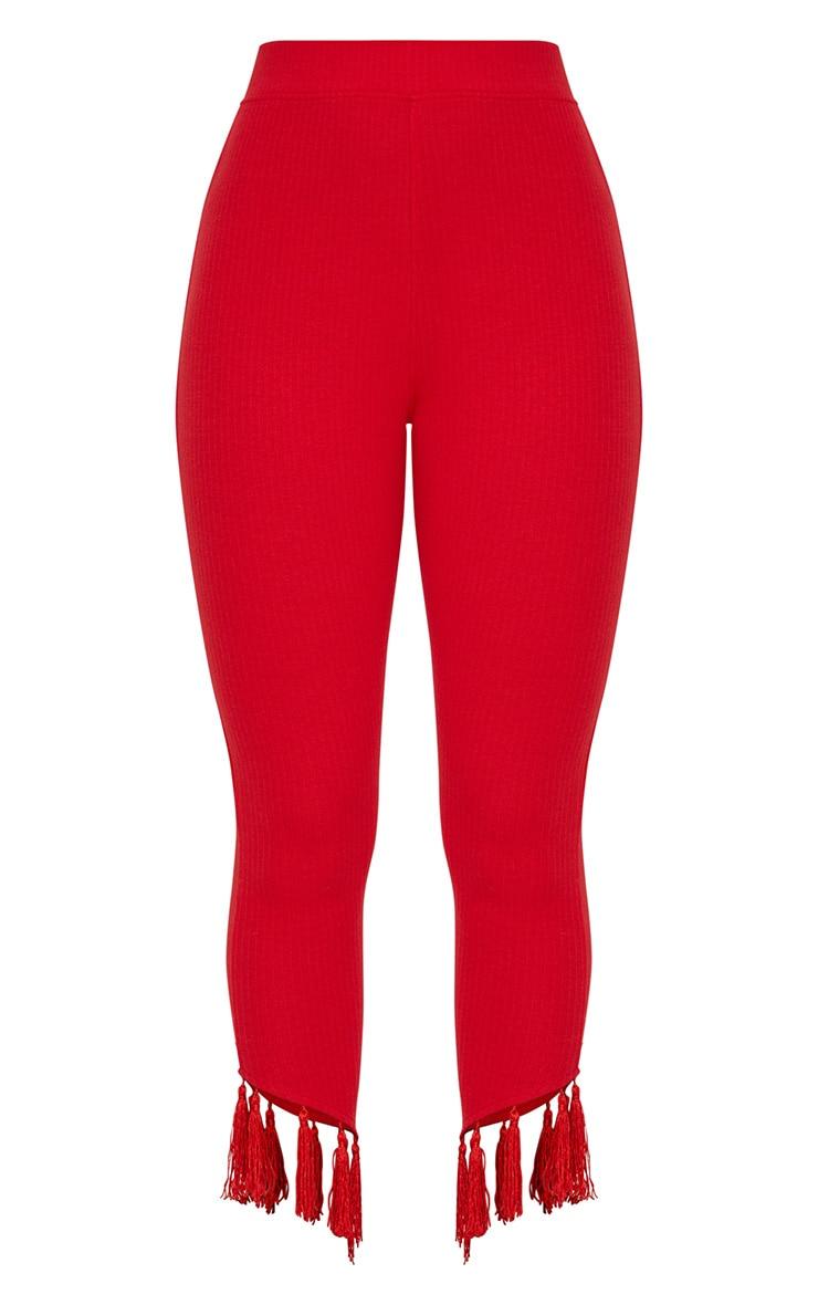 Red Rib Tassel Trim Legging 3
