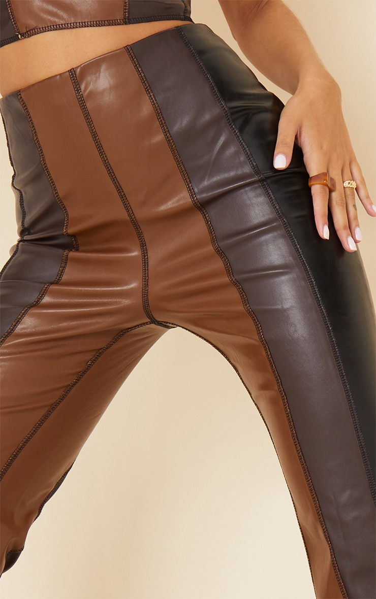 Chocolate Brown Faux Leather Panelled Skinny Flared Trousers 4