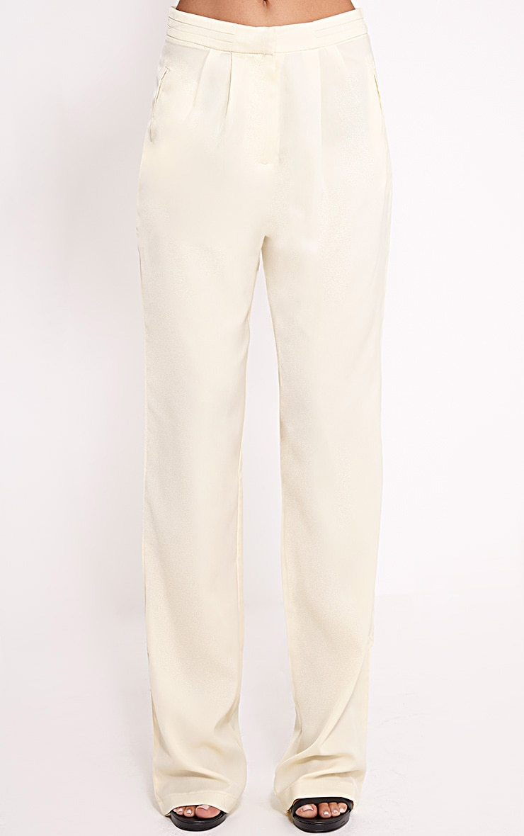 Olive Cream Loose Fit Trousers 3