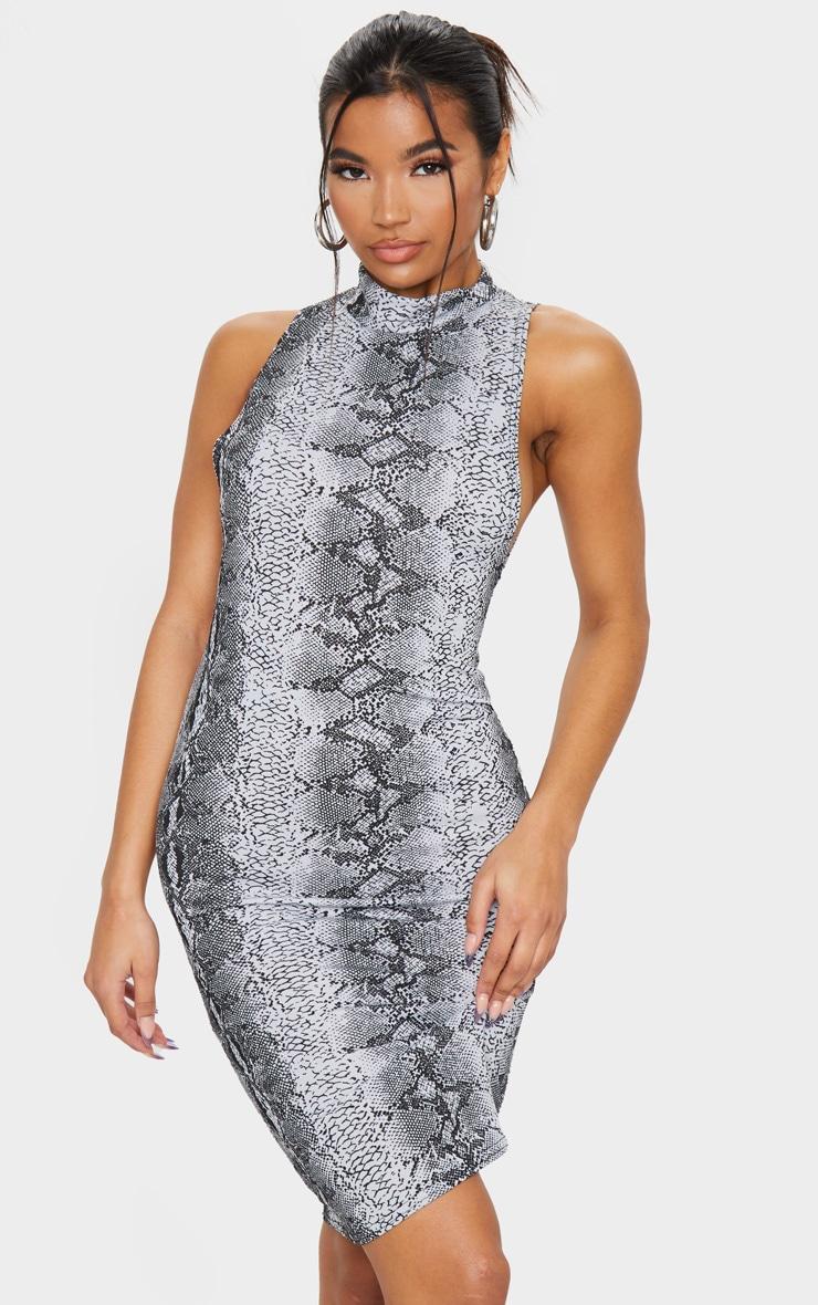 Grey Snake Print High Neck Midi Dress 1