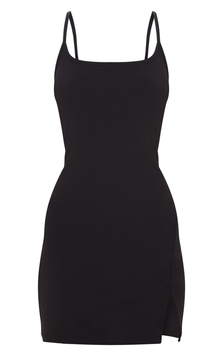 Black 2 In 1 Strappy Split Front Shift Dress 3