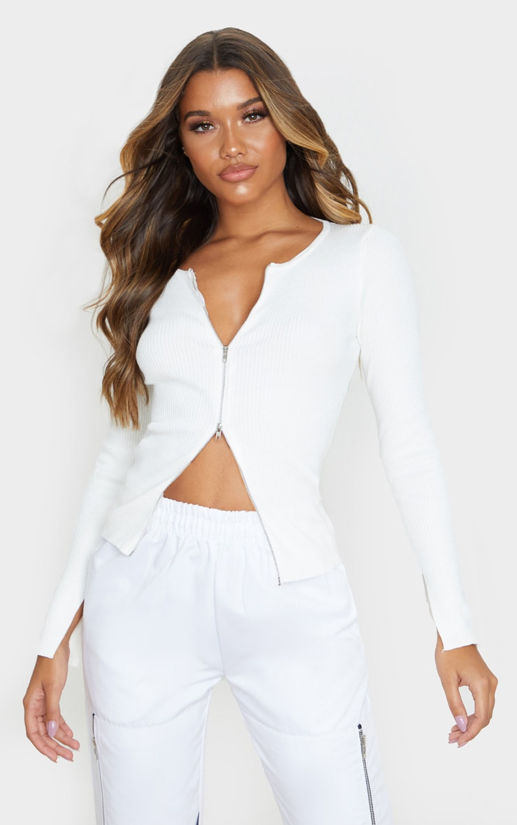 White Zip Front Knit Top 1