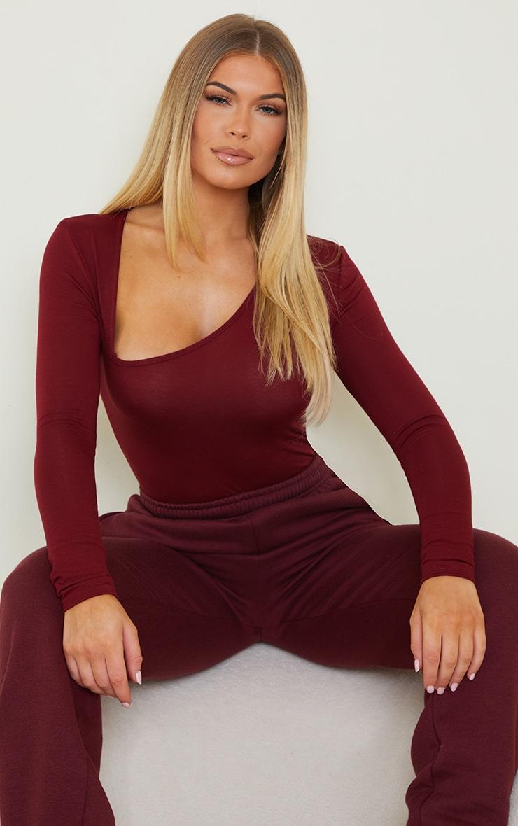Burgundy Asymmetrical Jersey Thong Bodysuit 1