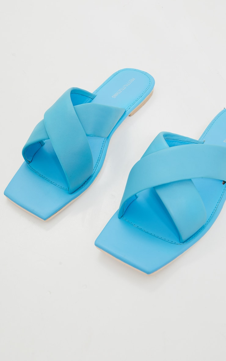 Blue Leather Square Toe Cross Strap Mule Flat Sandals 3