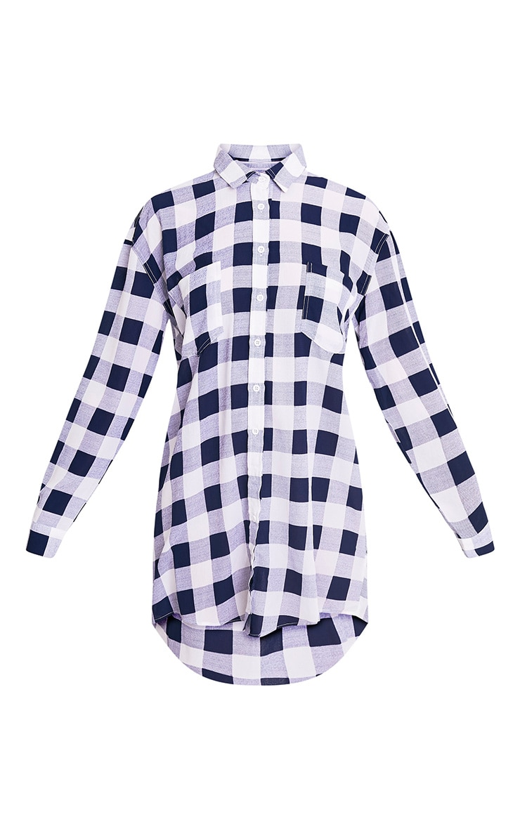 Perrie Blue Oversized Checked Shirt Dress 3