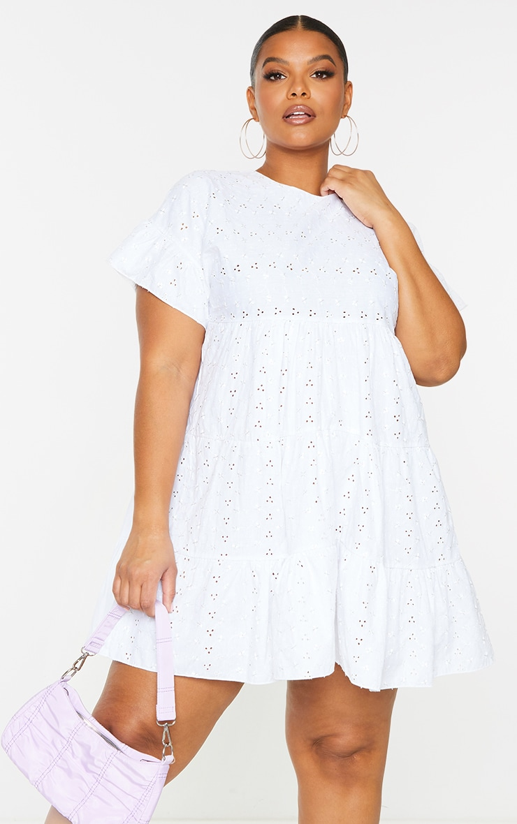 Plus White Broderie Anglaise Smock Dress 4
