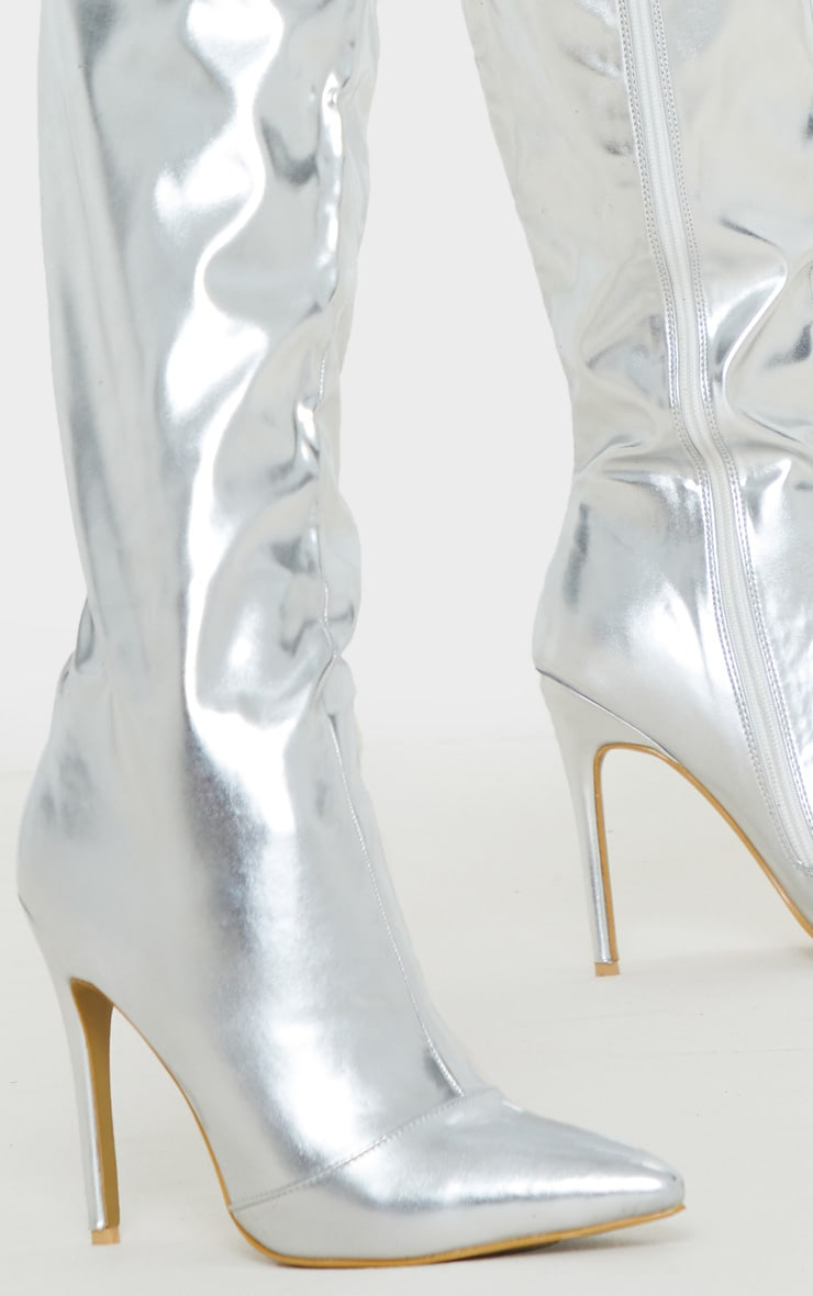 Silver Metallic Stiletto Thigh High Boot 5