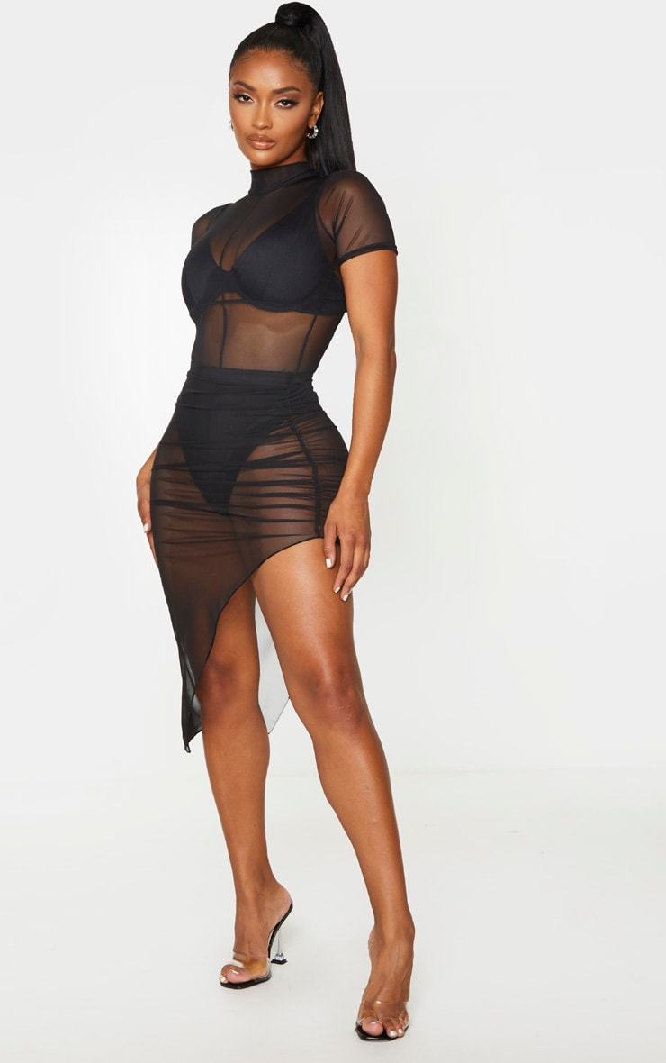 Shape Black Mesh High Waist Ruched Side Midi Skirt 1