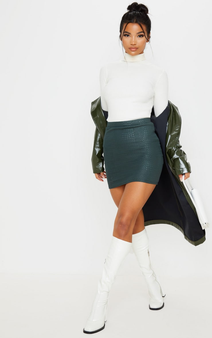 Green Croc Print Bodycon Mini Skirt 5