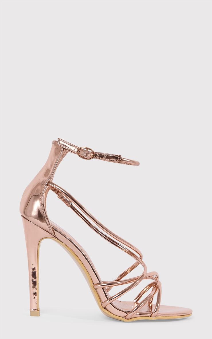 Duaya Rose Gold Metallic Multi Strap Heeled Sandals 2