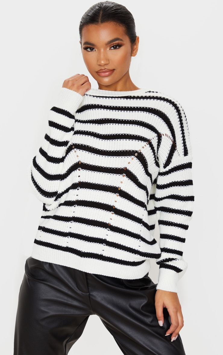 Monochrome Pointelle Detail Stripe Knitted Sweater 5