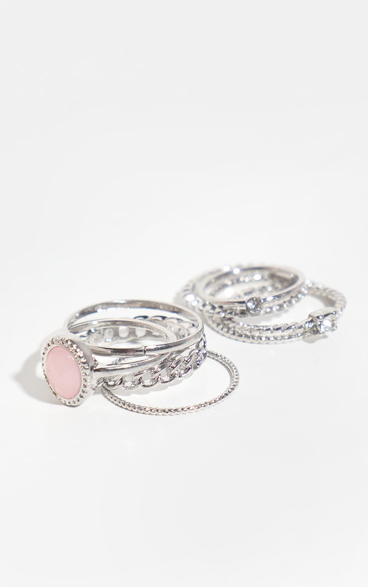 Silver Mixed Textured Ring 8 Pack 1