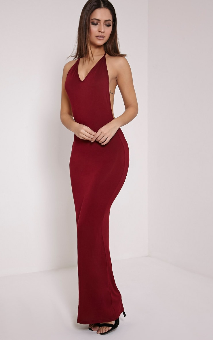 Basic Burgundy T Bar Back Maxi Dress 4