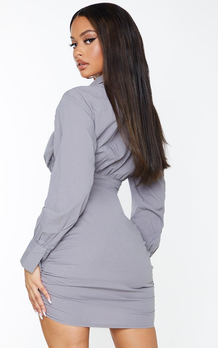 Grey Long Sleeve Asymmetric Ruched Bodycon Dress 2