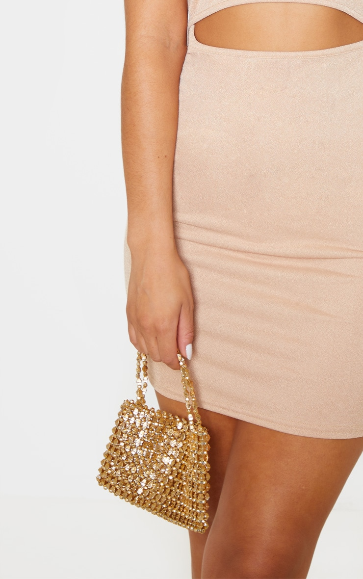 Gold Metallic Beaded Mini Bag 1