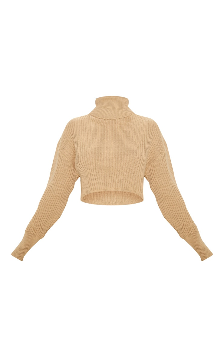 Stone Ribbed Knitted High Neck Crop Top 3