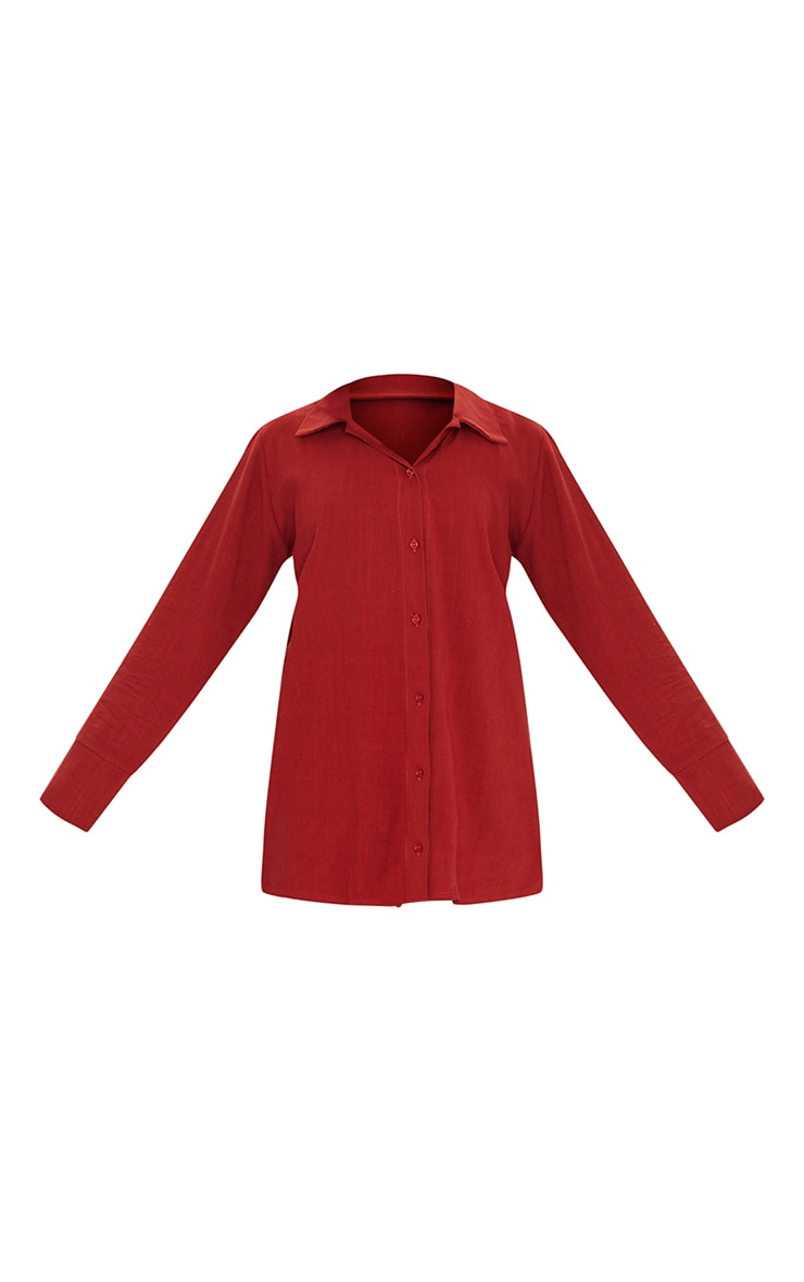 Brick Red Woven Longline Shirt 5