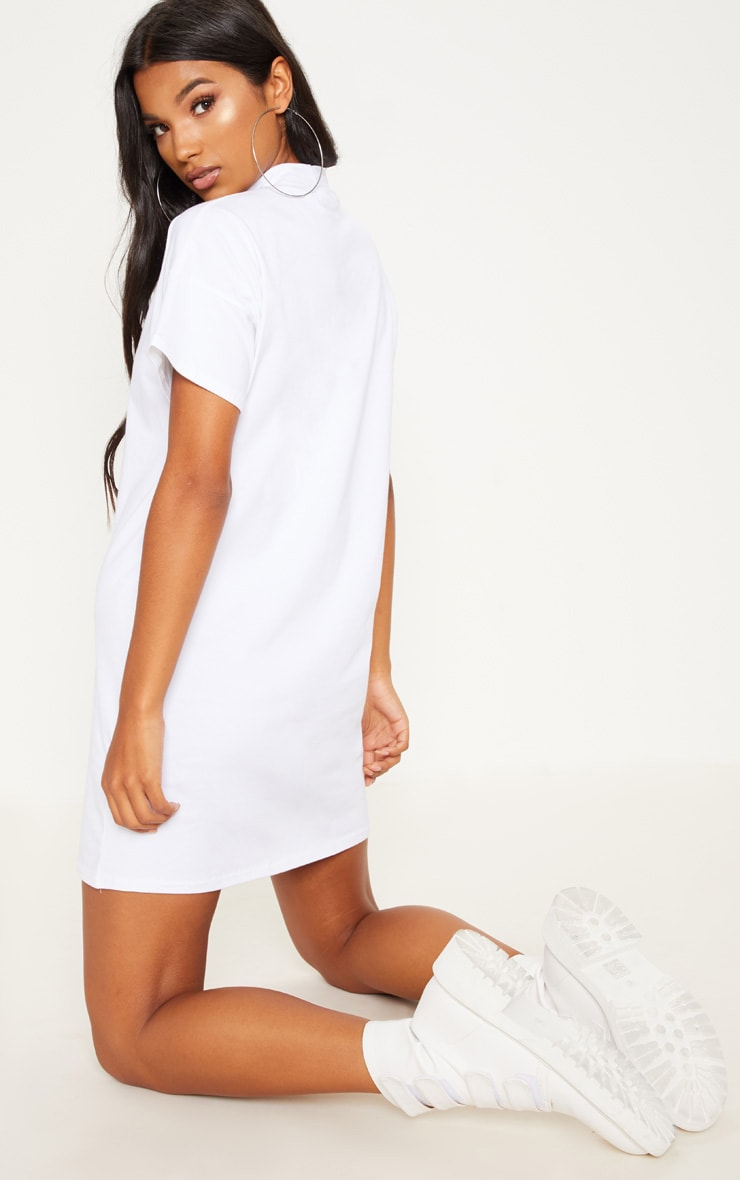 White High Neck Oversized T Shirt Dress 2
