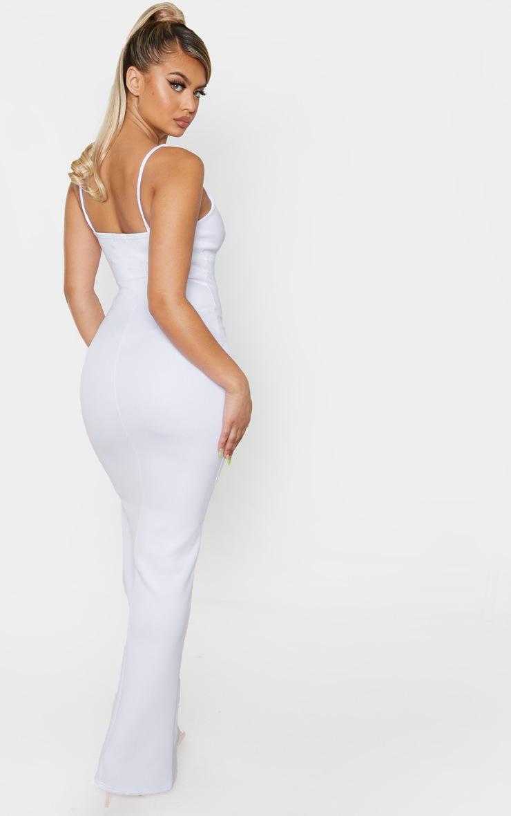 White Strappy Mesh Binding Insert Split Detail Maxi Dress 2