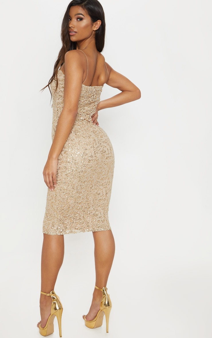 Gold Lace Sequin Square Neck Midi Dress 2