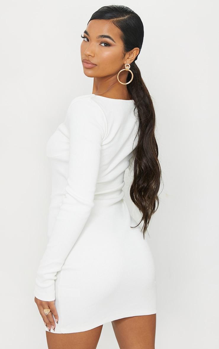 Cream Thick Rib Long Sleeve Sweetheart Neck Bodycon Dress 2