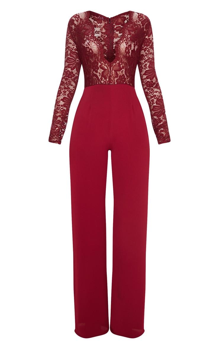 Burgundy Lace Long Sleeve Plunge Jumpsuit 3
