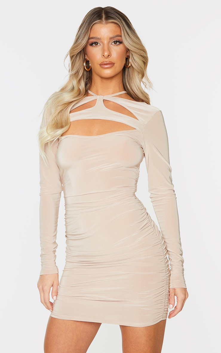 Stone Slinky Chest Cut Out Detail Long Sleeve Bodycon Dress 1