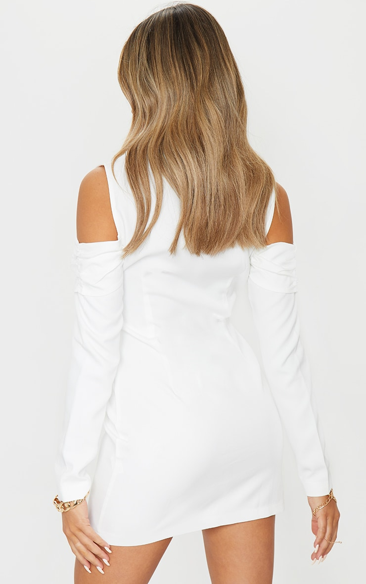 White Cold Shoulder Detail Blazer Dress 2